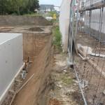 Die Grenzmauer stand bereits vor der Ausschachtung der Baugrube
