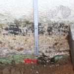 erdberührter Teil des Putzes zerstört, Abdichtung des Putzes gegen Bodenfeuchte fehlt